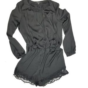 Guess SZ M black long sleeve romper lace trim